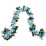 MEHELANY Artificial Flower Garland, 2 Pack 15FT Blue Rose Flower Strings Fake Flower Vines for Wall, Wedding, Bedroom, Party Decor(Blue,2)