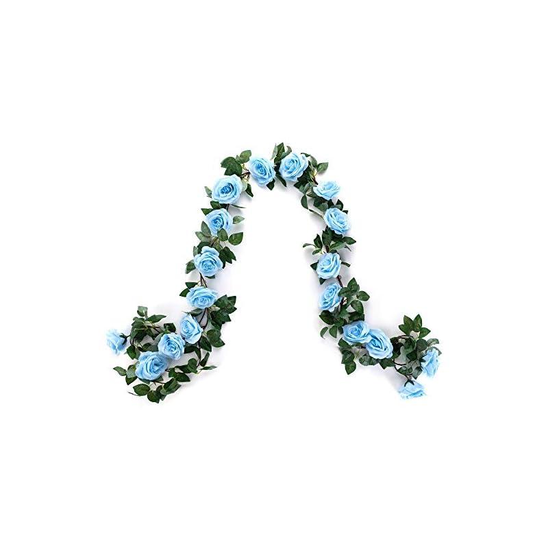 silk flower arrangements mehelany artificial flower garland, 2 pack 15ft blue rose flower strings fake flower vines for wall, wedding, bedroom, party decor(blue,2)