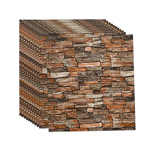 3d Brick Wandpaneele Selbstklebend Tapeten Wand Dekoration Retro Nostalgischer Ziegelstein Muster Tapete FüR Kinderzimmer Schlafzimmer Wohnzimmer, 70 * 77CM(B20pcas)