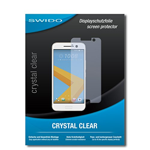 SWIDO Schutzfolie für HTC 10 [2 Stück] Kristall-Klar, Hoher Festigkeitgrad, Schutz vor Öl, Staub & Kratzer/Glasfolie, Bildschirmschutz, Bildschirmschutzfolie, Panzerglas-Folie