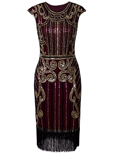 VIJIV Womens 1920s Elegant Dresses with Sleeves Beaded Great Gatsby Flapper Dress for Party Gold Red,XX-Large