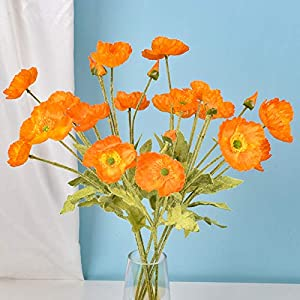Realistic Blue Silk Poppy Flower, 12 Pack Real Touch Artificial Poppy Branch with Bendable Stem for Mom Day, Table, Vase, Orange