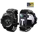 vikano Survival Bracelet Watch, Men & Women Emergency Survival Watch with Paracord/Whistle/Fire Starter/Scraper/Compass and Alarm, 6 in 1 Multifunctional Outdoor (Black)