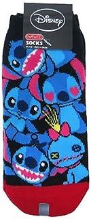 スティッチ[女性用靴下]レディースソックス/ぎっしり BK×RD ディズニー