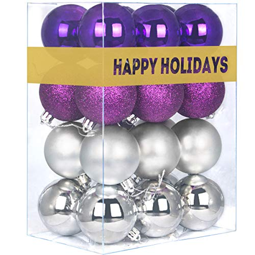 GameXcel 24Pcs Christmas Balls Ornaments for Xmas Tree - Shatterproof Christmas Tree Decorations Perfect Hanging Ball Purple & Silver 1.6