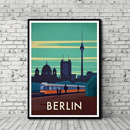 HNTHBZ Leinwand-Malerei Vintages Reise-Plakat Berlin-Leinwand-Druck-Wand-Kunst-Dekor-Ölgemälde Häusliche Dekoration Kunstdrucke Wandbild Leinwand-Malerei WWJYB0171 (Size (Inch) : 60x85cm)