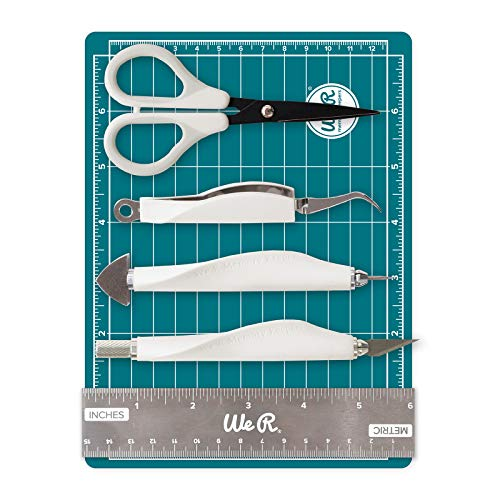 We R Memory Keepers Mini Kit, Herramientas de scrapbooking 6 piezas, blanco