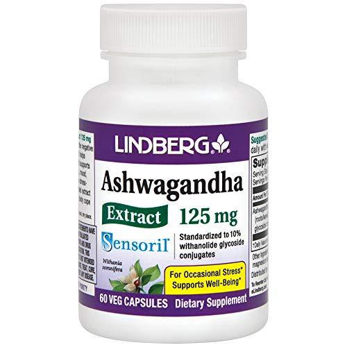 Lindberg Sensoril Ashwagandha Extract Vegetable Capsules - Standardized to 10% Withanolide Glycoside Conjugates (60 Capsules)