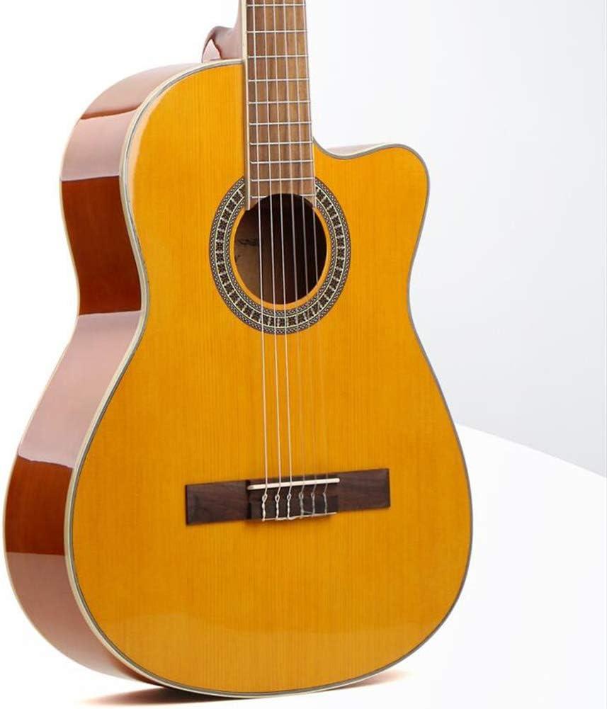 Guitarra Acústica Tamaño Completo 39 Pulgadas Acorazado Corte Clásico Guitarra De Madera Cuerda De Nylon Fácil De Aprender Guitarra Infantil Portátil Mano Derecha Guitarra,2 Colores Gdming