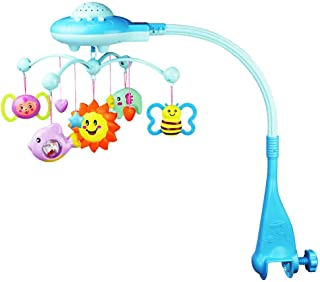 Un ncie Baby Crib Mobile Musical Toy Learning Auto Rotation Educational Sound Toy for Infant Toddler Blue