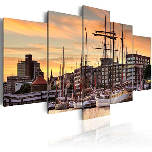 GSDFSD 5 Canvas Wall Art Framed Print On Canvas Harbour City at Sunset 5 Panel Canvas Wall Art for Living Room Bedroom Gift - 150 * 80Cm