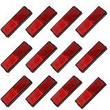12 Piezas Reflector de Caravana, Reflector de Remolque Trasero, Reflector de Remolque Rectangular, Adecuado para Postes de Puerta, Bicicletas, Caravanas, Remolques, Vehículos Recreativos, Etc (Rojo)