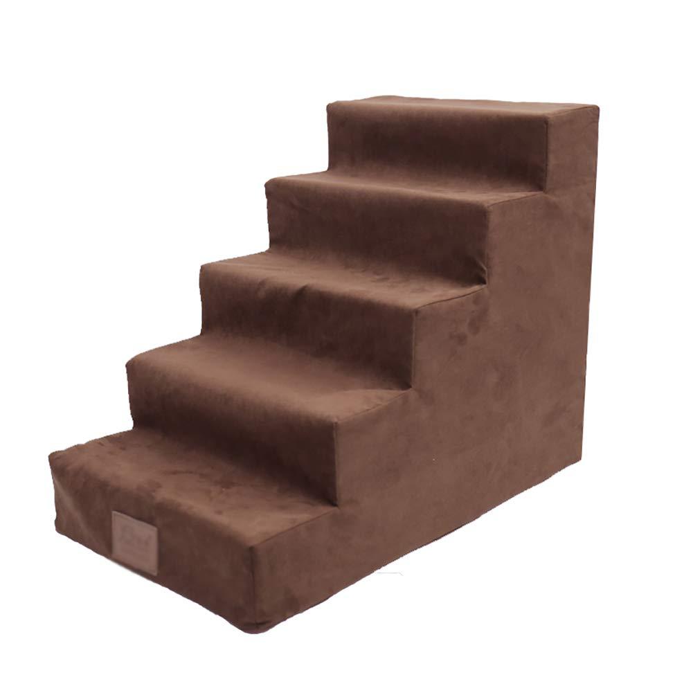 LXLX Escalera para Mascotas de 5 Pasos para escaleras Grandes para Perros, Camas Altas y sofá Alto, extraíble Lavable (Color : Brown): Amazon.es: Hogar