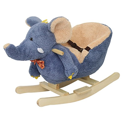 Kinbor Baby Kids Toy Plush Rocking Horse Little Elephant Theme Style Riding Rocker with Sound, Seat Belts