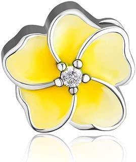 CKK DIY Flower Beads Fits Pandora Bracelet Authentic 925 Sterling Silver Jewelry Enamel Flower Charms for Women (Yellow.)