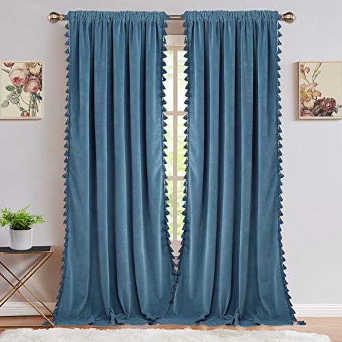 Velvet Curtains for Living Room, Boho Tassels Soft Luxury Home Decor Room Darkening Curtain Panels for Bedroom, Blue, 42 x 108 Inch, 2 Panels