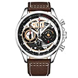 Stuhrling Original Mens Chronograph Aviator Watch - Skeleton Pilot Watch with Tachymeter and Leather Strap Dress Watches Ace Aviator 45mm Watch (Brown Silver)