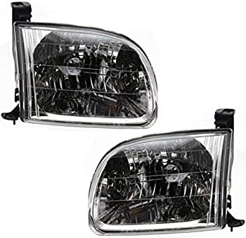 Evan-Fischer Headlight Set Compatible with 2000-2004 Toyota Tundra Left Driver and Right Passenger Side Halogen With bulb s