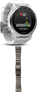 Garmin Fenix 5S - White with Carrara White Band and 010-12517-05 Fenix 5X Quick fit 26 Watch Band - Slate Grey Stainless Steel