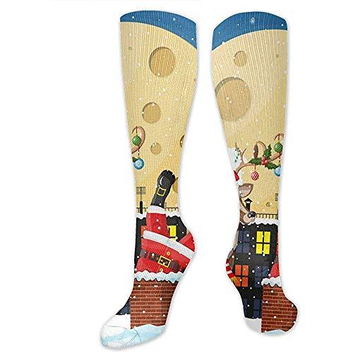 Zome Lag Grappige sokken, Athletic Crew sokken, vrijetijdssokken, hardloopsokken, Kerstman met tas met geschenken in huis open haard unisex tennissokken, heren jurk vakantie sokken 50 cm