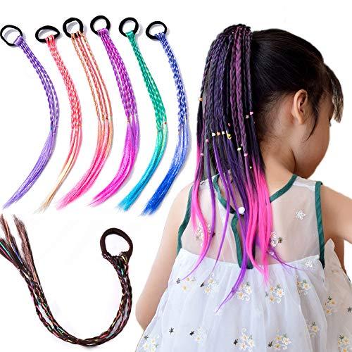7 extensiones de cabello coloridas trenzas trenzadas para el