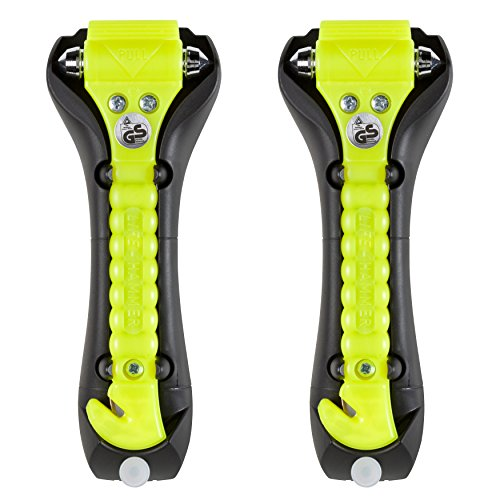 Lifehammer Brand Car Safety Hammer, the Original Emergency Auto Escape and Rescue Tool with Seatbelt Cutter, Made in the Netherlands, Glow Yellow (Pack of 2)
