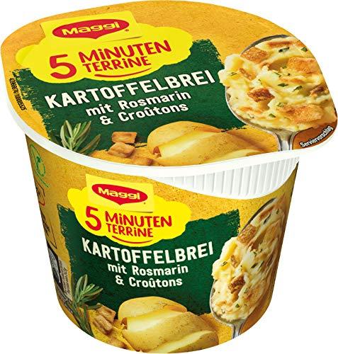 Maggi 5 Minuten Terrine Kartoffelbrei mit Rosmarin & Croutons, leckeres Fertiggericht, Instant Kartoffel-Püree, herzhafter Kartoffel-Snack, 1er Pack (1 x 53g)