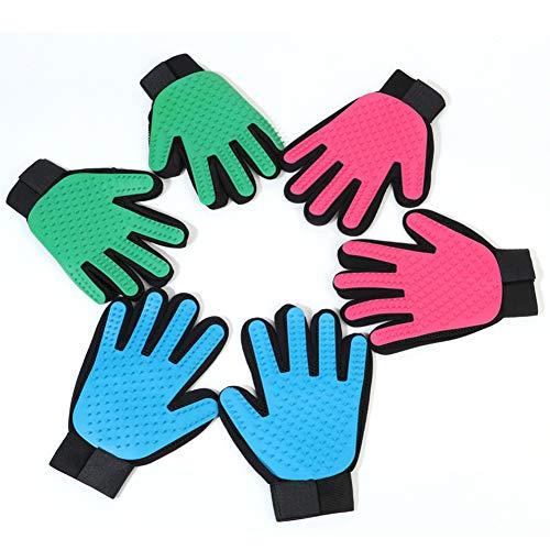 HELEN CURTAIN EIN Paar Handschuh Hund, Bürste für Haar-Glove Grooming Hund, Katze Grooming Glove Massage für süße und wirksam für die Reinigung Handschuhe,Grün