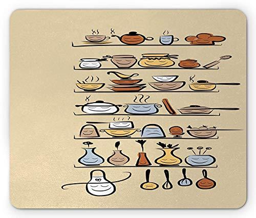 Vintage Mauspad, Küchengeschirr Utensilien Geräte Ornamente Gewürzregal niedlichen lustigen Design-Druck, Mousepad, Brown Cream