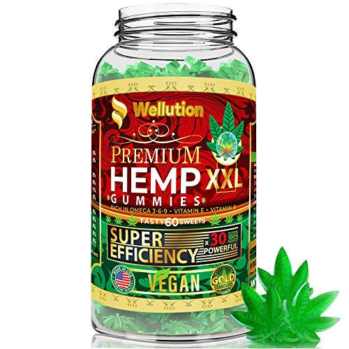 Wellution Vegan Hemp Gummies for Sleep x30 Powerful XXL - Stress & Anxiety Relief - Mood Enhancer & Immune Support - Rich in Vitamins B, E & Omega 3-6-9, Made in USA