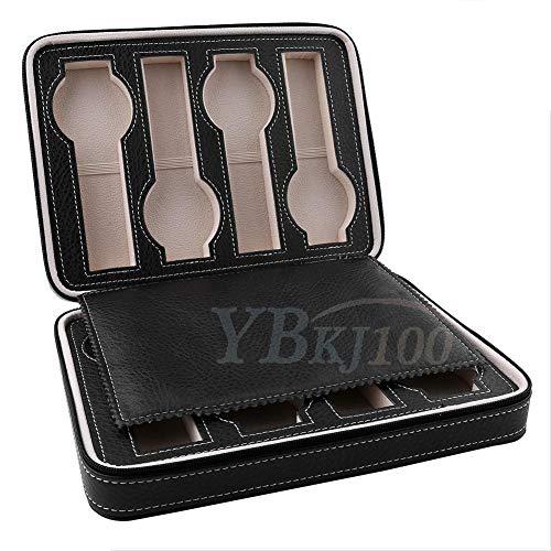 OIHODFHB 1 unidad de 8 rejillas de cuero reloj almacenamiento caja de viaje organizador negro