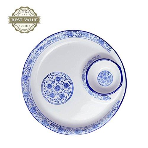 Serviergeschirr Teller Kreative blaue und weiße Porzellan Hause mehrdimensionale Keramik Geschirr Küche Besteck Multifunktionsschale Obstsalat Hummer Soße Teller ( Size : 25cm(9.8 inches) )