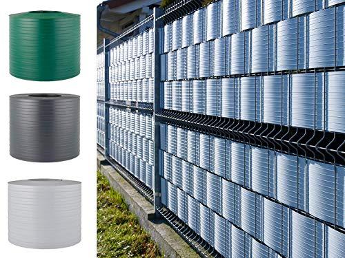 Quest Hart PVC Sichtschutzstreifen für Doppelstabmattenzaun Gartenzaun Balkon Zaun Sichtschutz Streifen   Höhe 19cm   Stärke: 1,5mm (10 Streifen x 2,525m, Anthrazit)