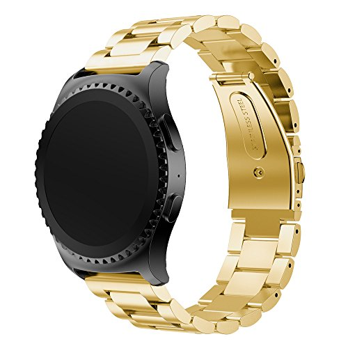 Gear S2Classic/sport strap Angolf 20mm Stainless Steel Smart Watch Band replacement strap Wristband for Samsung Gear S2Classic R732/R735/Gear sport R600/Moto 3602nd Gen 42mm, Gold