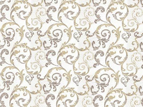 Venesto Gardinenstoff Organza Barock Ornamente Muster beige hochwertiger Stoff als Meterware halbtransparent
