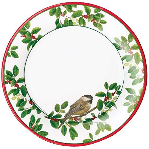 Caspari avec Oiseaux chanteurs Winter Assiettes Plates, Multicolore, Lot de 8