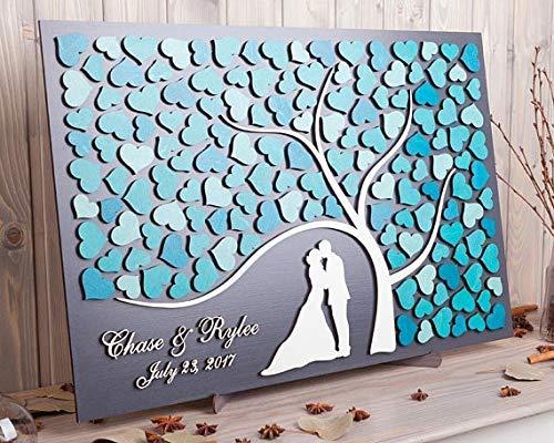 Promini Custom 3D Wedding Guest Book Alternative Tree Hearts Wedding Decor Unique Guestbook Wooden Tree of Life Wedding Gift