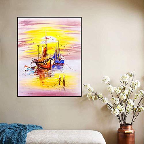 ganlanshu Volver al Barco de Pesca al Atardecer Imagen de póster de Arte Lienzo Arte mar Pintura al óleo decoración de Oficina,Pintura sin Marco,60x75cm