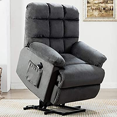 CANMOV Power Lift Recliner Chair for Elderly- Heavy Duty and Safety Motion Reclining Mechanism-Antiskid Fabric Sofa Living Room Chair with Overstuffed Design