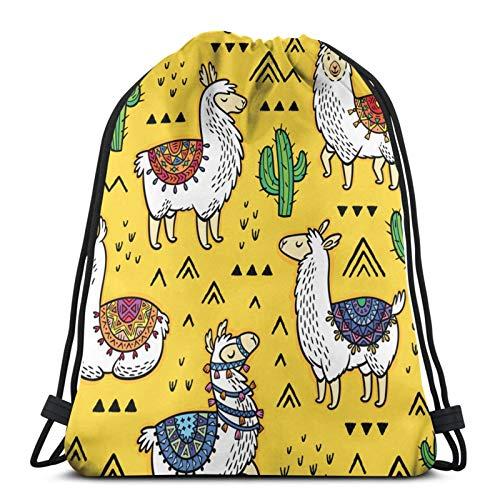 Llamas Cactuses Drawstring Bag Children Drawstring Backpack Men Women Travel Bag for Picnic Gym Sport Beach Travel