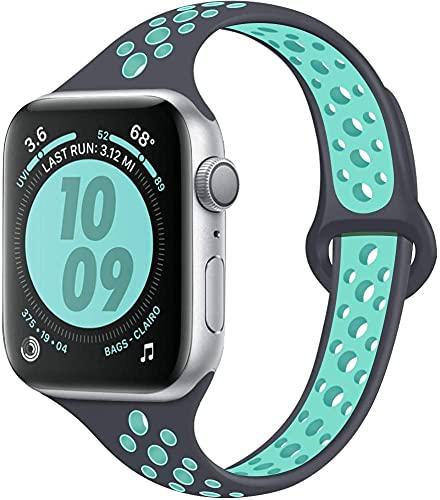 Hspcam Correa delgada para Apple Watch 5 Band 40mm 44mm iWatch Band 38mm 42mm Pulsera de silicona transpirable Apple Watch 3 4 2 38 42 40 44mm (42 o 44 mm, gris verde)