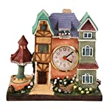 LIOOBO Castle Alarm Clock Decoration Creative European Antique House Villa Resin Crafts Desktop Clock Without Battery
