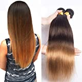 Ombre Blonde Weave Straight Weft Remy Brazilian Hair Bundles 300g 100% Real Human