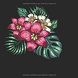 Skizzenbuch quadratisch: Blanko Zeichenbuch   Skizzenbuch  120 Seiten   Hibiskus Motiv   Softcover   quadratisch 21,59cm x 21,59 cm   Seiten mit Rahmen   weißes Papier
