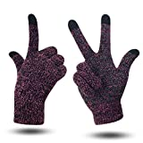Women Touch Screen Gloves - Ladies Winter Mittens Touchscreen, Full Finger Glove Knit Wool Lined with Non-Slip Silicone in Palm, Christmas/Birthday/Festival Gift for Women Girl (Lavender, Medium)