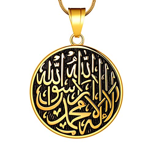 Hipunk Allah Necklace Mens Muslim Pendant 18K Gold Plated Islamic Arabic Gift 316L Stainless Steel Islam Jewelry SP0049K
