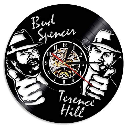 YUN Clock Wanduhr aus Vinyl Schallplattenuhr Upcycling 3D (Bud Spencer Terence Hill) Design-Uhr Wand-Deko Vintage Familien Zimmer Dekoration Kunst Geschenk Ø: 30 cm (Lieferzeit: 3-5 Tage)