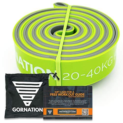 GORNATION Bandas de Resistencia Premium de Doble Capa con Curso de Video y Bolsa - Banda de Fitness para Crossfit, calistenia y Fitness (3 - Verde (20-40kg Resistencia))