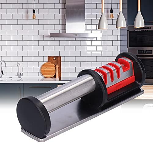 Chanme Afilador de Tijeras, afilador de Cuchillos Antideslizante Multifuncional de 4 etapas para Acampar al Aire Libre para Cocina(Colorful Package)