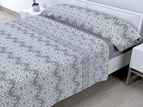 Cabetex Home - Juego DE SÁBANAS CORALINA - 180 GR/M2-3 Piezas - Mod. JONO (Gris, 105_x_190/200 cm)